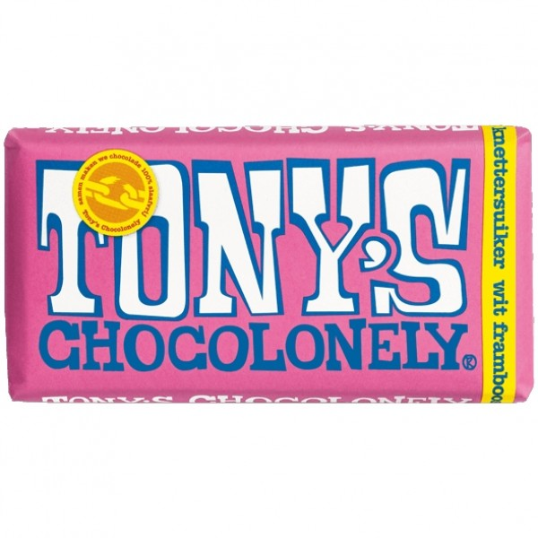 Tony's Chocolonely Wit-Framboos_knetterreep, 180 gram
